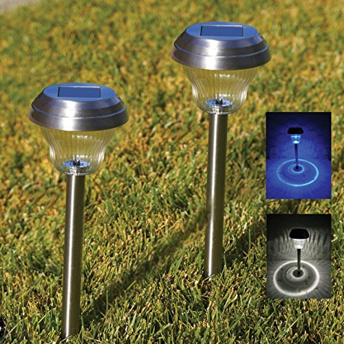 Solar Lights Outdoor Pathway Decorative Garden Stake Light Upgraded Dual LED White Blue Glass Lens Brgiht 10Lumen Decorations Sogrand Stainless Steel Stakes for Patio Outside Landscape Walkway (Blue Decorative Glass)
