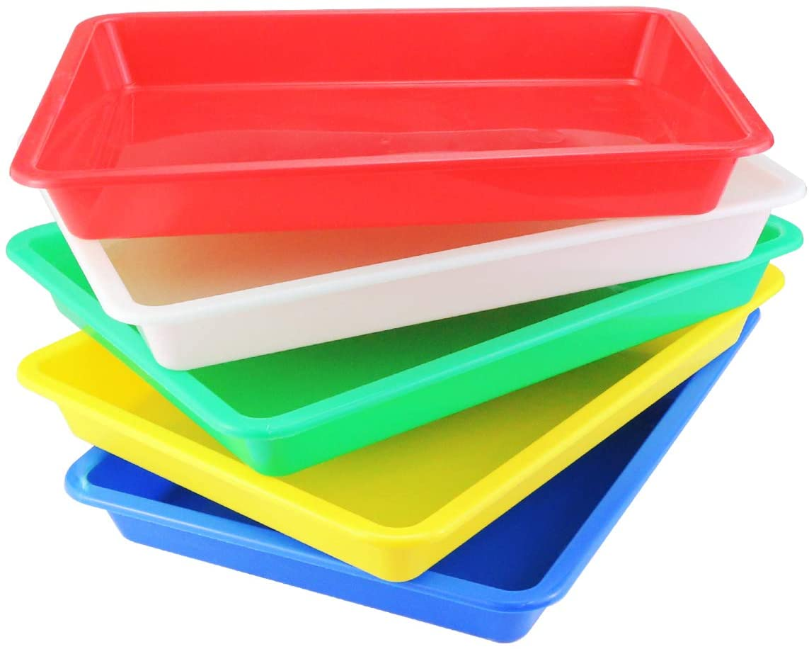Painting DIY Projects Beads 5 Color Organizing Supply Weoxpr 5 Pack Multicolor Plastic Art Trays Activity Tray Crafts Organizer Tray Serving Tray for School Home Art and Crafts