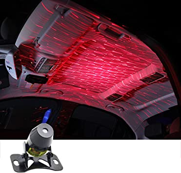 Meteor Star Red LED Car Ambient Ceiling Light USB Interior Galaxy Lamp Projector