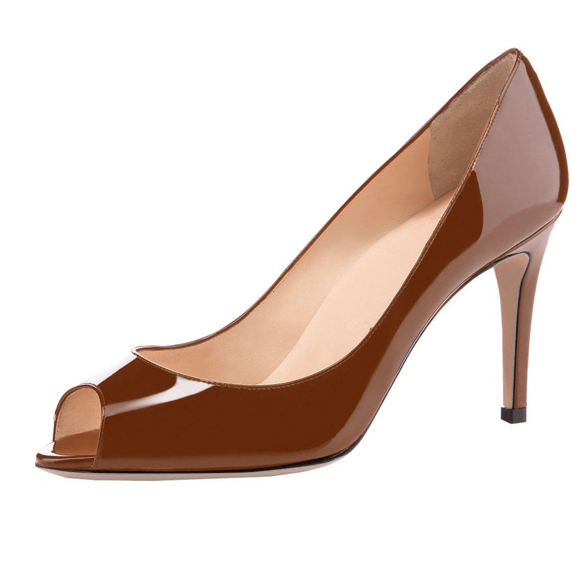 Eldof Women Peep Toe Pumps Mid-Heel Pumps Formal Wedding Bridal Classic Heel Open Toe Stiletto B07F1LTKLK 5.5 B(M) US|Brown