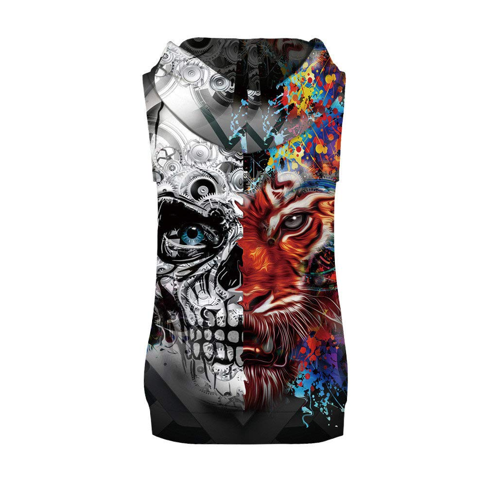 Mens Casual Splash-Ink 3D Print Hoodie Tank Tops Sleeveless Shirts Gym Workout with Pockets Toponly