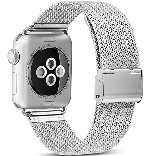 Watruer Compatible Apple Watch Band, 42mm 44mm Stainless Steel Mesh Loop with Adjustable Closure Replacement iWatch Band for Apple Watch Series 4 Series 3 Series 2 Series 1 Sport and Edition - Silver