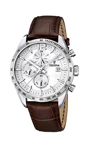 Festina Men s Quartz Watch with White Dial Chronograph Display and Brown  Leather Strap F16760 1  Festina  Amazon.co.uk  Watches 1252967ce3