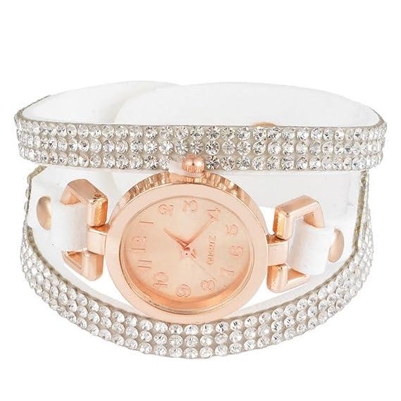 284bde76a106e2 MJARTORIA Damen Strass Boho Armbanduhr Elegant Klein Mode Damenuhr Analog  Quarz Uhr Weiß
