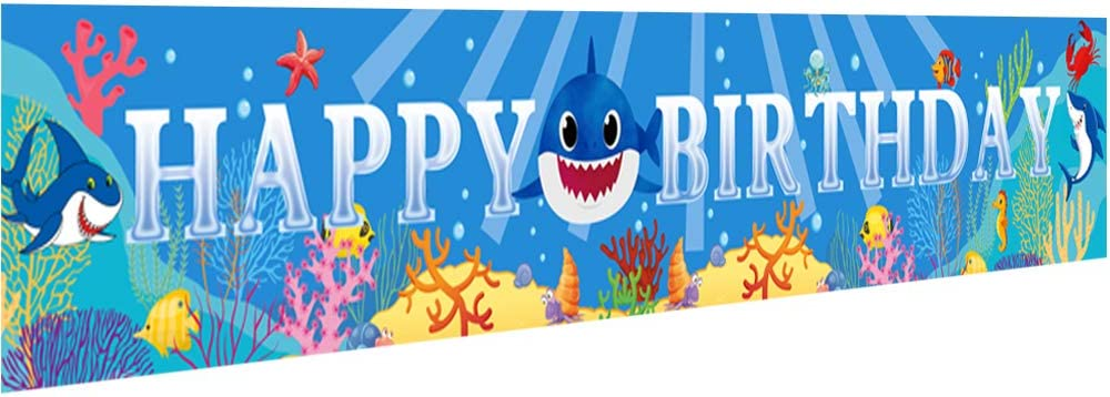 Ushinemi Happy Birthday Banner Baby Shark Theme Party Decorations Supplies Ocean Under The Sea Themed Sign for Kids Boy Girl, 9.8x1.6ft