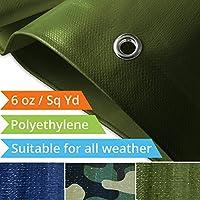 Tarps Medium Duty Waterproof | Ground Tent Trailer Cover | Large Tarpaulin in Multiple Sizes | 6 oz / Sq Yd | Multiple Colors