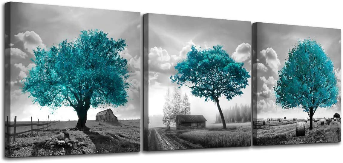 Canvas Wall Art for Bedroom Black and White Farmhouse Rustic Country Landscape Teal Trees Picture Wall Decor Modern Framed Artwork 3 Pieces Wall Decoration for Dining Room Kitchen Bathroom Office Home
