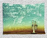 Music Decor Tapestry, Old Aged Worn Single Trumpet Stands Alone Against a Faded Wall Jazz Music Theme Photo, Wall Hanging for Bedroom Living Room Dorm, 60 W X 40 L, Sea Green and Brown