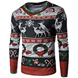 PASATO Classic Men Autumn Winter Xmas Christmas Printing Top Men's Long-sleeved T-shirt Blouse Clearance Sale(Multicolor, L=US:M)