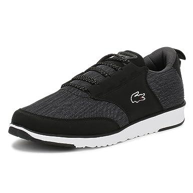 1016cdbbfa Lacoste Hommes Noir/Blanc Textil Basket -UK 6: Amazon.fr: Chaussures ...