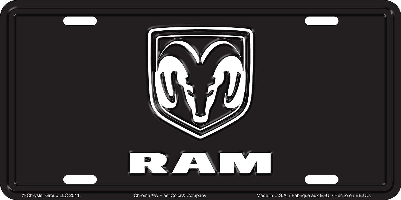 Chroma 001961 Brushed Aluminum 'Dodge RAM' Metal Tag License Plate
