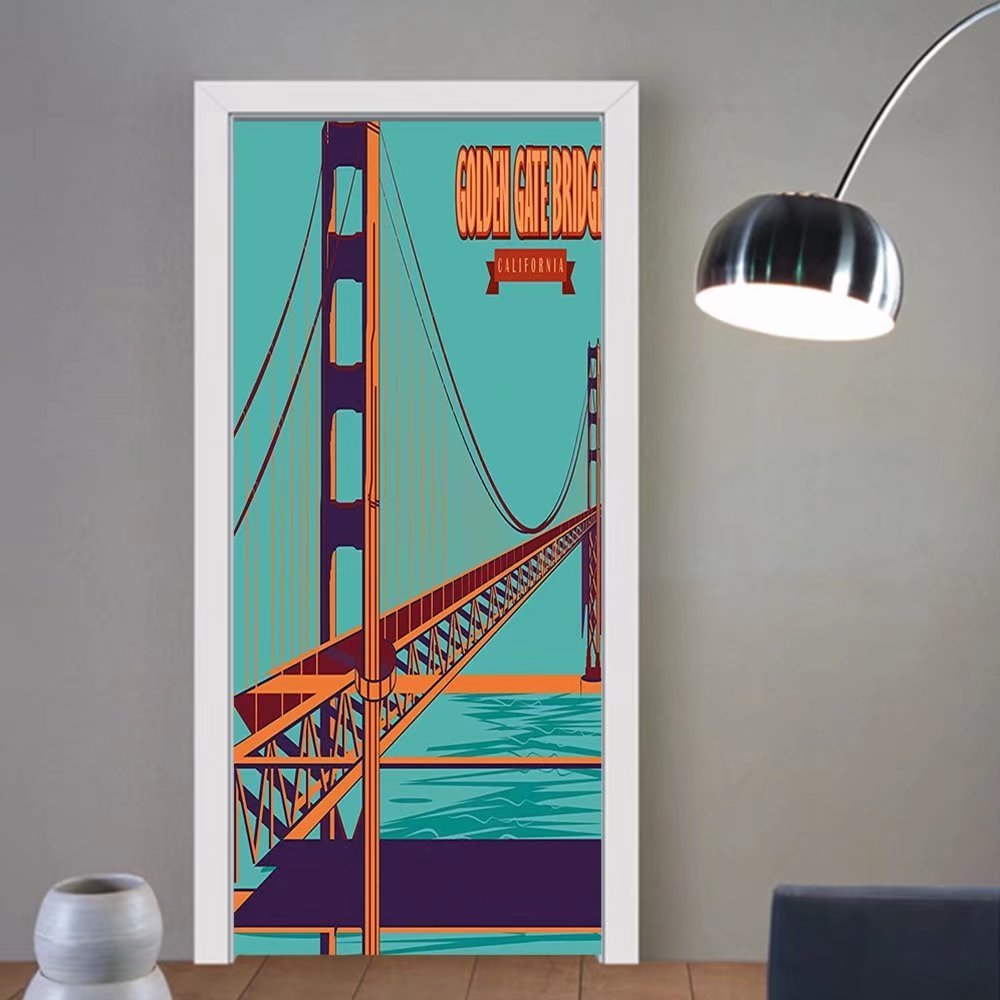 Gzhihine custom made 3d door stickers Vintage Poster of Golden Gate Bridge in California USA Famous Landmark Retro Art Turquoise Red Orange For Room Decor 30x79