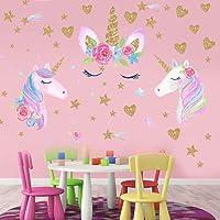 BESLIME 3 vellen Eenhoorn Muursticker Stickers, voor Kids Baby Meisje Slaapkamer Speelkamer Decor, Eenhoorn Muurstickers