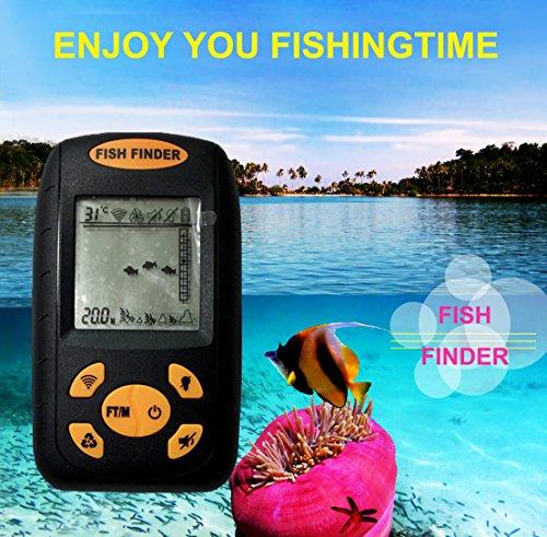 WERSHOW Sonar Fish Finder Portable Fish Finder with Round Sonar Sensor Alarm Transducer Fish Finder Fish Finders And Other Electronics WERSHOW