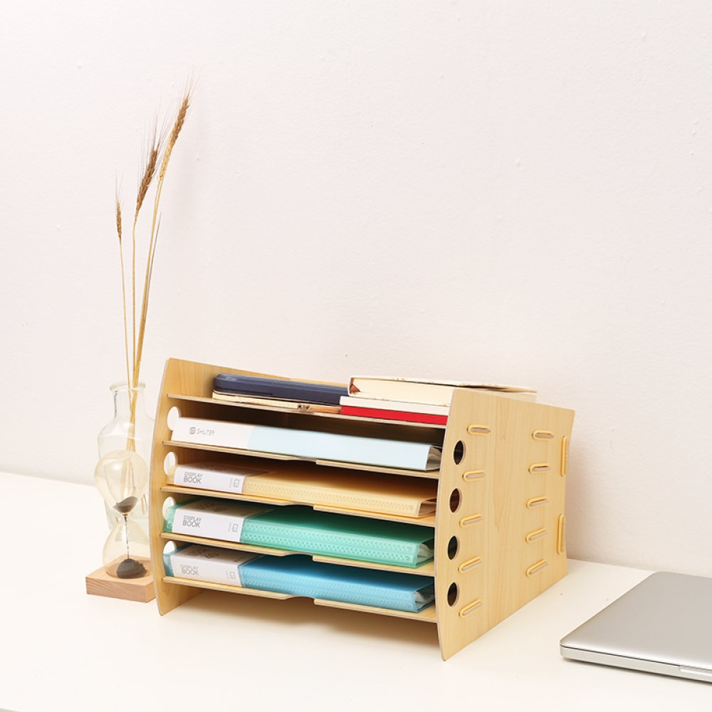 Bookcase Office Desk Organizer Multi-Layer Office Supplies Rack Data Rack Creative Stationery Document Storage Box,WoodColor by Bookcase (Image #2)