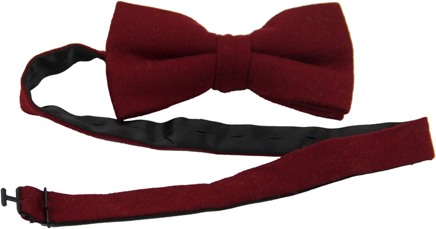Mens Plain Wool Bowtie with Matching Pocket Square Set-Various Color