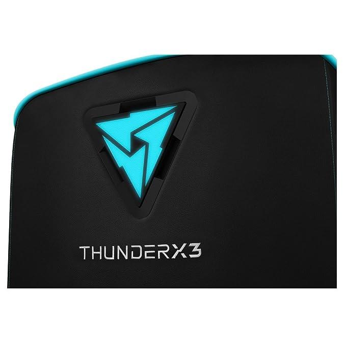 ThunderX3 US5HEXC - Sofá gaming (7 colores RGB, 3 efectos, cuero sintético premium, triple costura, cojín de muelles, marco de madera maciza) color negro y ...