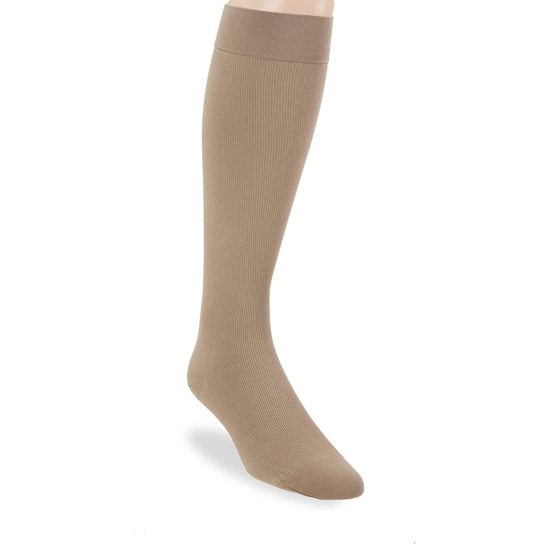 JOBST forMen Knee High 30-40 mmHg Ribbed Dress Compression Socks, Closed Toe, Large, Khaki