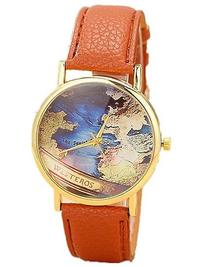World talía West EROS Pop de moda reloj de pulsera para mujer de tarjeta mapa analógico de cuarzo para mujer con correa de piel marrón/oro.