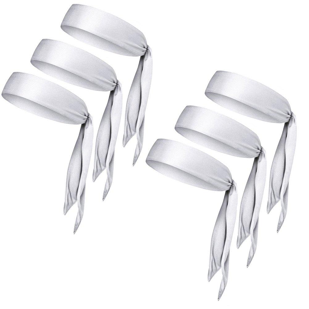 LIMOSUNO Dry Fit Head Ties for Women Men Tie Back Headbands Bulk Performance Elastic Moisture Wicking Non Slip for Running Basketball Tennis Yogo Pirates Workout (White 6pcs)