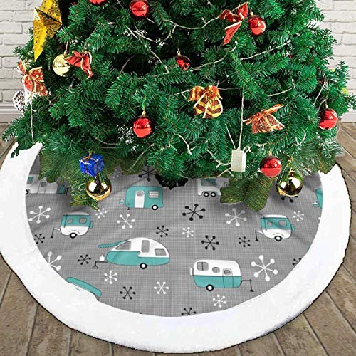 QINGPING 30/36/48 Inch Christmas Tree Skirt Campers Bus Turquoise Rustic Xmas Tree Round Indoor Outdoor Mat Xmas Party Holiday Decorations