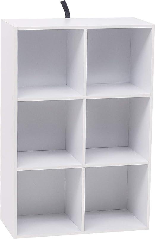 WOLTU Estantería para Libros Estantería de Exposición Estantería de Pared con MDF, Blanco, Estante para Oficina Gabinete para Archivos, 6 ...