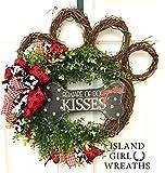 Dog Wreath, Grapevine Dog Wreath, Paw Wreath, Dog Wreaths, Paw Wreaths, Paw Print Ribbon, Grapevine Dog Wreath, Summer Wreath, Everyday Wreath