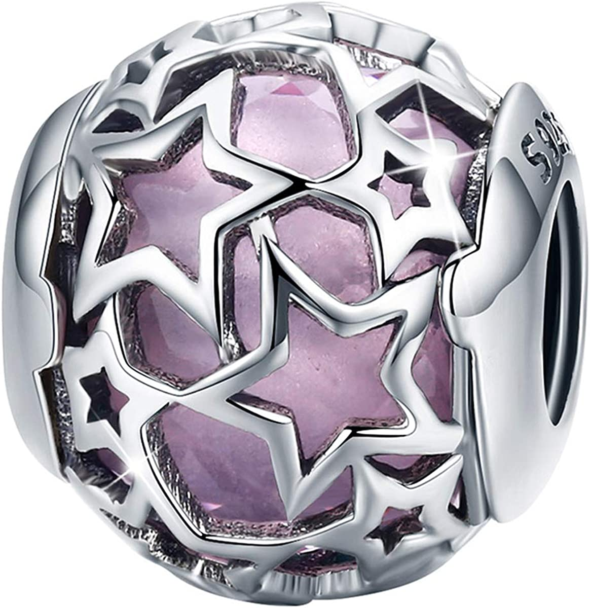 FOREVER QUEEN Starry Night Bead Sky Twinkling Star Charm 925 Sterling Silver Murano Glass Charms Beads Fit for Bracelet & Necklaces, Gifts for Women Girls