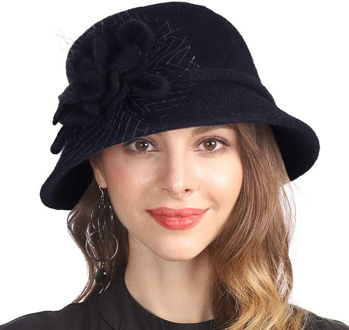 1920s Accessories | Great Gatsby Accessories Guide Women Vintage Elegant Wool Felt Cloche Bucket Hat Floral Winter Warm Cap Z01 £19.99 AT vintagedancer.com