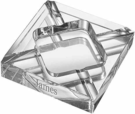 Amazon Com Visol Personalized Hyperion Square Crystal Cigar Ashtray With Free Engraving Home Kitchen