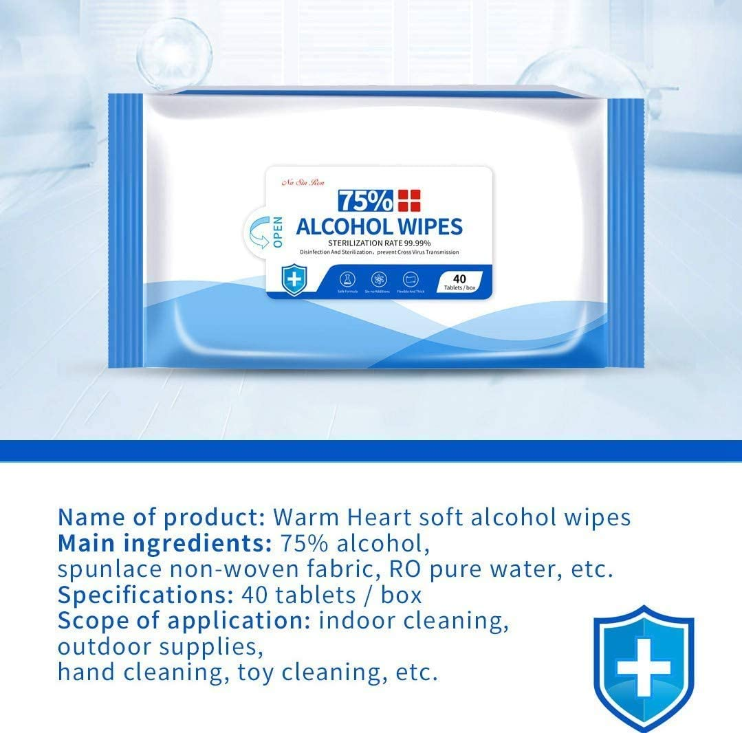 5 Packs /× 40 Sheets Total 200 PCS Alcohol Formula Wipes Individually Packaged Wet Tissues Bulk 75/% Alcohol Cotton Sheet Sterile Gauze Pads Suitable for Outdoor Skin Cleansing Care