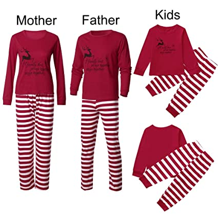 beb4480812 WensLTD Family Matching Xmas Pajamas Set - Women Men Boys Girls Christmas  Deer Tops Striped Pants