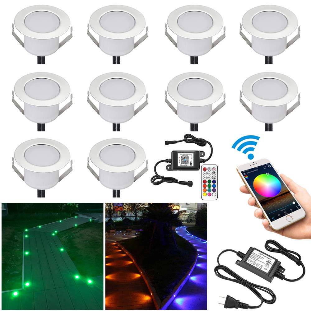 FVTLED 10pcs Φ1.85'' WiFi Controller Low Voltage LED Deck Lights Kit Work with Alexa Google Home WiFi Wireless Smart Phone LED Step RGB Inground Lights