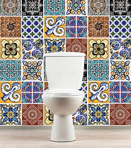 Amazon Com Tiles Stickers Decals Packs With 36 Tiles 7 9 X 7 9 Inches Wall Decals Mexican Talavera Style Decoration Artwork Design Home Kitchen