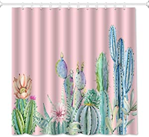 QiyI Pink Cactus Shower Curtain Set Tropical Plants and Flower 3D Print Fall Decor for Home Floral Bathroom Accessories Waterproof & Machine Washable Fabric Bath Curtains with 12 Hooks 72