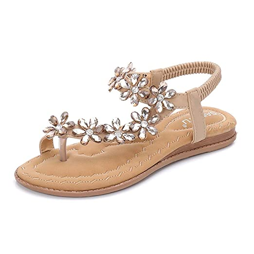 Women Flat Sandals Crystal Summer Gladiator Flip Flops Beach Party Shoes  Elastic Band Floral (Beige 08c51ec147f9