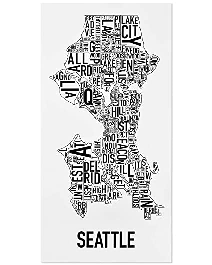 Amazon Com Seattle Neighborhoods Map Art Poster Black White 16