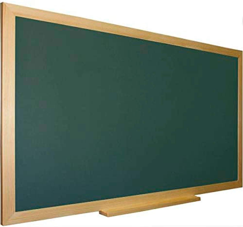 Pizarra verde para tiza con marco madera natural de pino incluye bandeja cajetín. Ideal para la decoración infantil en habitación de niños, hogar, casa, cocinas, oficina (150 x 100 cm)