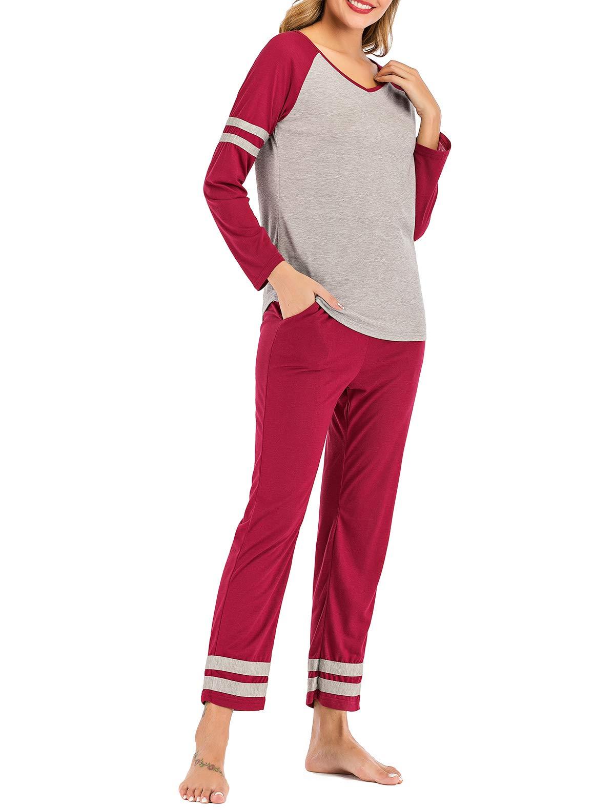 AOVXO Soft Pajama Set for Women Casual V-Neck Long Sleeve Loose Loungewear Set Long Sleeve Tops & Long Sleep Pants with Pockets Loungewear (Wine Red with Grey, XXL)