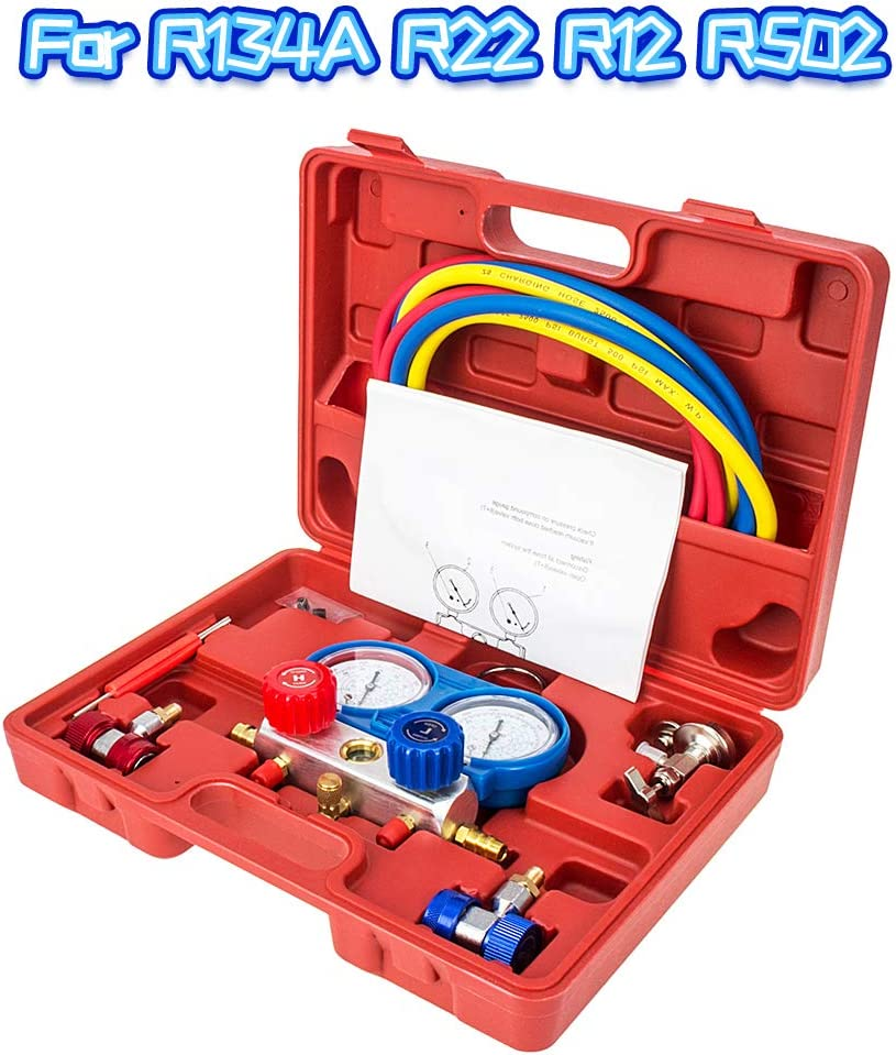 K/ältemittel-Manifold-Messger/ät Set Monteurhilfe Klimaanlage Messingdiagnose 4-Wege-AC-Verteiler-Messger/ät Kit Ladeschl/äuche Kupplungsadapter f/ür R502 R22 R12 R134A mit 1.5 m Ladeschl/äuchen