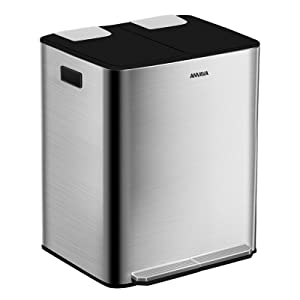 ANVAVA 30 Liter Trash Can, 2x15L Dual Trash Can Stainless Steel Step Trash Can with Removable Inner Bucket and Soft Close Lid