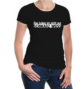 Girlie T-Shirt Das Leben ist nicht nur schwarz weiß-XS-Black-
