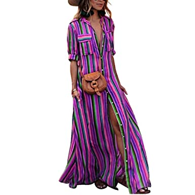 8b08aba7a Mintsnow Womens Button Down Collar Roll up Sleeve Stripes Long Maxi Dresses  with Pockets at Amazon Women's Clothing store: