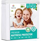 "Vekkia Mattress Protector Hypoallergenic Breathable Waterproof Mattress Cover,Fitted 8""-18"" Deep - Vinyl Free(King)"