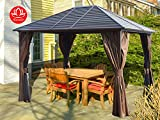 Caesar 10'x12' Hardtop Aluminum Permanent Gazebo with a Mosquito Net Sidewall