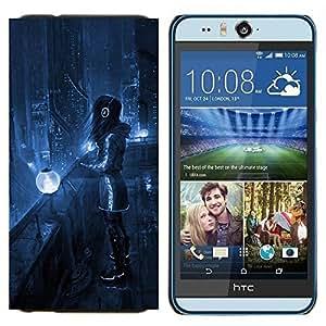 EJOOY---Cubierta de la caja de protección para la piel dura ** HTC Desire Eye M910x ** --Art Blue Night City Lights Futurismo Auriculares