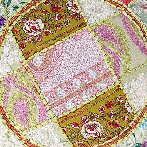 Eyes of India - 17 X 12 Green Round Ottoman Cover Pouf Pouffe Floor Seating Bohemian Boho Indian