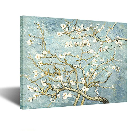 - Creative Art- Canvas Prints Giclee Artwork for Wall Decor Classic Van Gogh Artwork Oil Paintings Reproduction Almond Blossom Canvas Picture Photo Prints on Canvas Art for Wall (Grey)