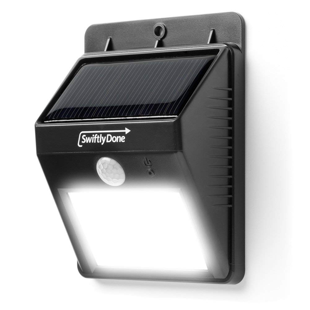 SwiftlyDone Bright Outdoor LED Light Solar Energy Powered – Weatherproof – No Tools Required; Peel 'n Stick / Motion Sensor-Detector Activated / For Patio, Deck, Yard, Garden, Home, Driveway, Stairs, Outside Wall / Wireless Exterior Security Lighting (No