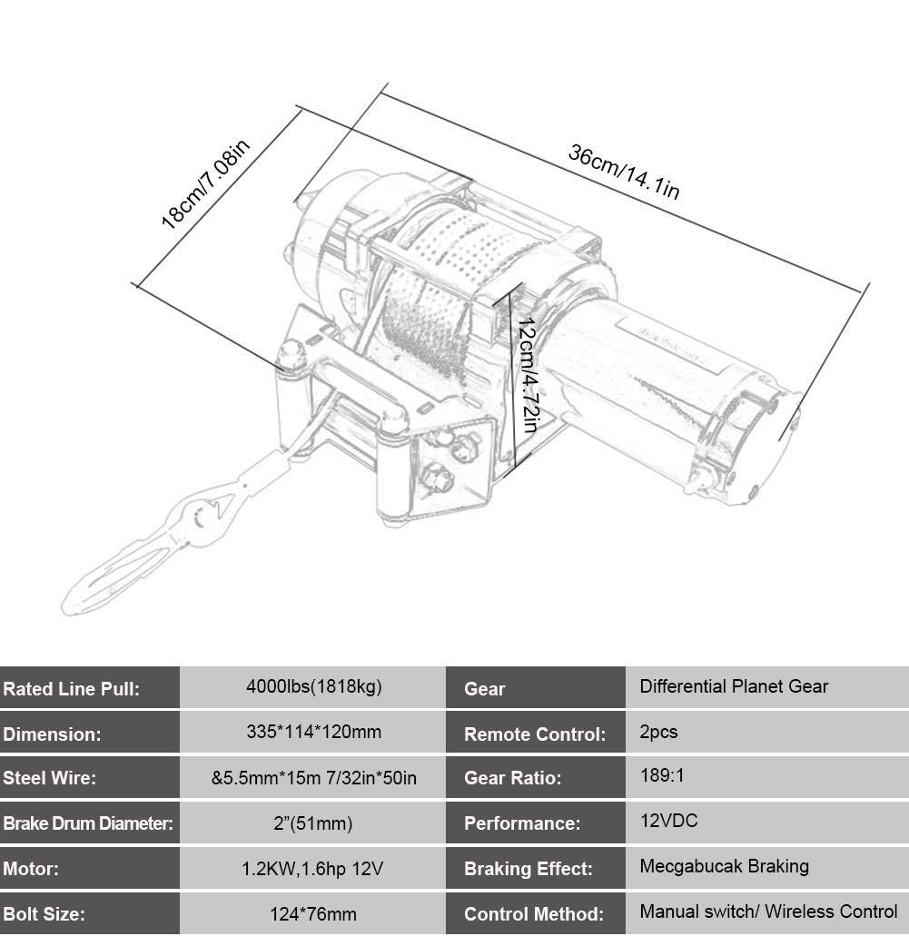 12V 4000 Libras Cabrestante Electrico Remolque Cami/ón Coche ATV UTV Kit de Cabrestante El/éctrica con Control Remoto